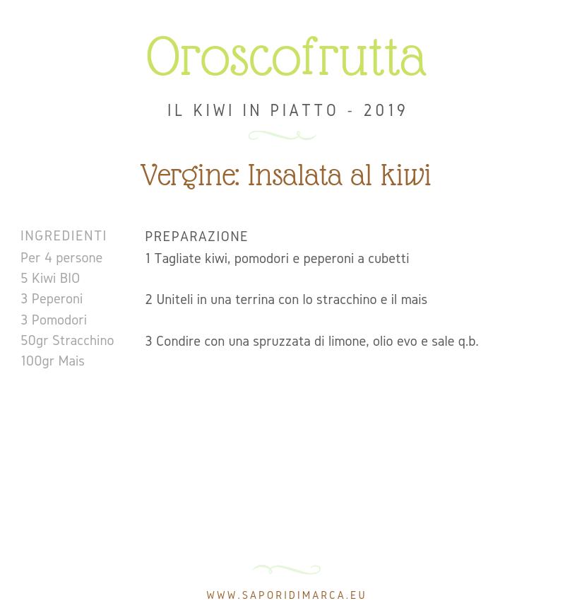 ricetta kiwi